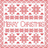 Merry Xmas Scandinavian style Nordic winter stitch, knitting seamless pattern stock illustration