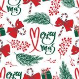Merry Xmas seamless pattern Royalty Free Stock Photo