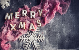 Merry Xmas sign with cookies Royalty Free Stock Photography