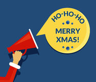 Merry xmas speech bubble from megaphone. Banner for social networks. Flat illustration of human hand holds red megaphone with christmas stylized speech bubble Stock Image
