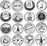 Merry xmas stamps. Merry Christmas classic stamp set Royalty Free Stock Photography