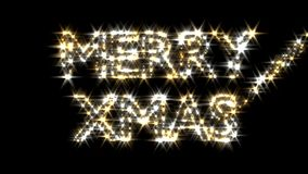 Merry Xmas text in gold and silver sparkles particles fairy dust wand stock video