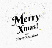 Merry xmas vintage black and white illustration for christmas greetings Royalty Free Stock Image