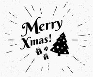 Merry xmas vintage black and white illustration for christmas greetings Stock Photo