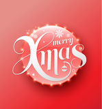 Merry Xmas white lettering on red circle. Modern calligraphy 3D style for greeting card, poster, photo overlay. Vector illustration. Holiday greeting card Stock Images