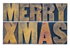 Merry Xmas wood type greeting card Stock Photography