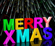 Merry Xmas Words With Fireworks Royalty Free Stock Photography