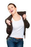 Merry young woman in brown jacket Royalty Free Stock Image