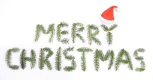 Merrz Christmas. Text made up from twigs of the spruce Royalty Free Stock Photography