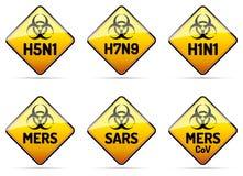 MERS, SARS, H5N1生物危害品病毒标志 免版税库存照片
