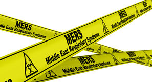 MERS Αναπνευστικό σύνδρομο της Μέσης Ανατολής Κίτρινες ταινίες προειδοποίησης απεικόνιση αποθεμάτων