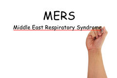 MERS text with hand writing. Hand with pen writing MERS Middle East Respiratory Syndrome coronavirus on pure white background Royalty Free Stock Photo