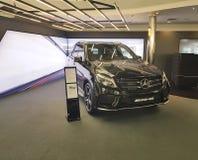 Mersedes för bil för stil för presentation Ukraina Kiev Januari 21, 2018 för ny gruppdesign modern elegant Benz, i visningslokale royaltyfri bild