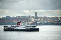 The Mersey Ferry MV Royal Daffodil of the Mersey passes the Liverpool shoreline Stock Photos