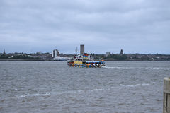 The Mersey Ferry to Birkenhead from the Albert Dock in Liverpool in Merseyside in England Royalty Free Stock Images