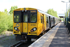 Merseyrail electric train in Ormskirk station stock photos