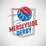 Merseyside Derby Of Liverpool And Manchester, het Verenigd Koninkrijk, Engeland Voetbal of Voetbal Logo Label Emblem Design vector illustratie