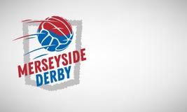 Merseyside Derby Of Liverpool And Manchester, Reino Unido, Inglaterra Fútbol o fútbol Logo Label Emblem Design With ilustración del vector