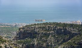 Mersin novo do kizkalesi da opinião do castelo do ` s, Turquia foto de stock