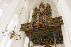 Merten Friese organ. GDANSK, POLAND - JULY 6, 2009: Merten Friese organ case from 1629, rebuilt with new Hillebrand instrument at St. Mary's Basilica Royalty Free Stock Image