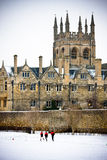Merton College. Traditional Oxford University college in the snow Royalty Free Stock Images