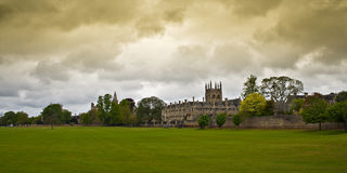 Merton College and Field in rainy day. Royalty Free Stock Photos