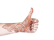 Merudanda mudra with henna Stock Images