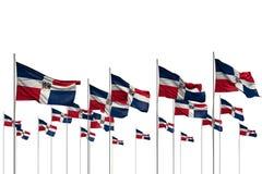 Merveilleux beaucoup de drapeaux de la R?publique Dominicaine dans une rang?e d'isolement sur blanc avec l'endroit vide pour votr illustration libre de droits