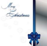 Mery Christmas. Christmas card with blue ribbon Stock Image