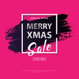 Mery christmas card. 2018 Merry christmas poster with silver text on grunge brush stroke. Modern concept for cover design. Shopping discount promotion. Banner Royalty Free Stock Images