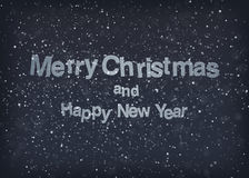 Mery christmas. Merry Christmas text with a dark snowy background. EPS10 Stock Images