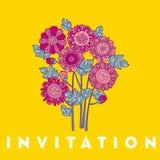 Merygold花卡片模板设计 翠菊花卉装饰传染媒介例证 在紫罗兰的秋天开花上色主题 免版税库存图片