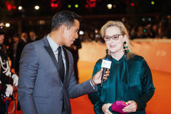 Meryl Streep entrevistou Fotos de Stock Royalty Free