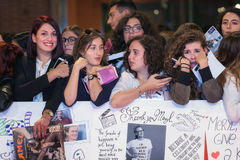 Meryl Streep fans on the red carpet Royalty Free Stock Photography