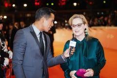 Meryl Streep intervjuade Royaltyfria Foton