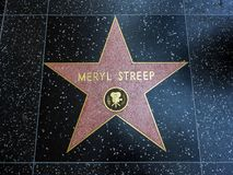 Meryl Streep`s Star, Hollywood Walk of Fame - August 11th, 2017 - Hollywood Boulevard, Los Angeles, California, CA Stock Photography