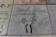 Meryl Streeps hand- and footprints, Hollywood Stock Image