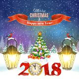Christmas vintage greeting card on winter village. Meryy Christmas and happy new year vintage greeting card on winter landscape. Christmas tree with 2018 clock Royalty Free Stock Photos