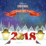 Christmas vintage greeting card on winter village. Meryy Christmas and happy new year vintage greeting card on winter landscape. Vector illustration. concept for Stock Photos