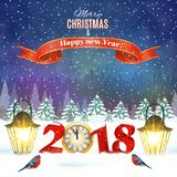 Christmas vintage greeting card on winter village. Meryy Christmas and happy new year vintage greeting card on winter landscape. Vector illustration. concept for Royalty Free Stock Photos