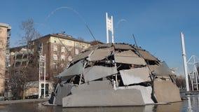 Merz Igloo fountain in Turin stock footage