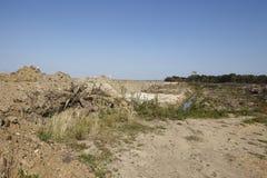 Merzenich - grävt upp landskap nära den dagbrotts- minen Hambach Royaltyfria Bilder