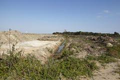Merzenich - grävt upp landskap nära den dagbrotts- minen Hambach Arkivbild