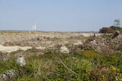 Merzenich - grävt upp landskap nära den dagbrotts- minen Hambach Arkivfoton