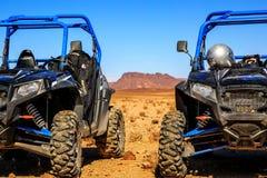 Merzouga, Marokko - 21 Februari, 2016: de blauwe Poolsters RZR 800 richtten a Stock Afbeelding