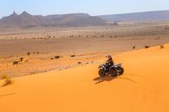 Merzouga, Marrocos - 26 de fevereiro de 2016: Carrinho da equitação do homem no deserto imagens de stock