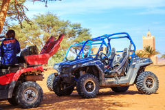 Merzouga, Morocco - Feb 26, 2016: back view on an off-road pilot Stock Image