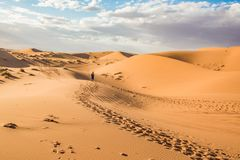 Merzouga pustynia, Marocco obrazy royalty free