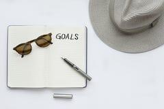 Mes buts écrits sur le carnet Photo libre de droits