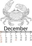 Mes 2019 de diciembre del calendario Cangrejo que colorea antiesfuerzo, mandala, modelos Crustáceo del fondo del mar Vector ilustración del vector